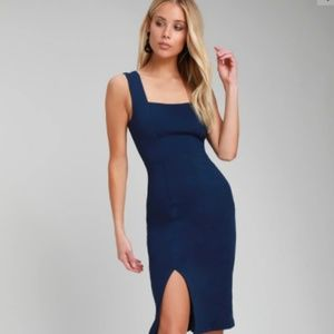 LULU's Navy Blue Sleeveless Bodycon Midi Dress
